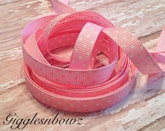 GRoSGRAiN RiBBON- 3/8 inch PiNK SWiSS Dot OFFRAY Grosgrain Ribbon 10 yards- DoTS on BoTH SiDES