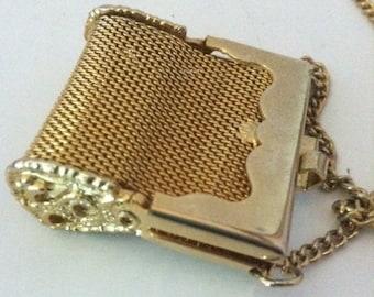 Vintage 1970's Mesh Purse Necklace