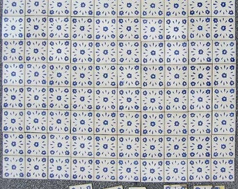 Mexican Tiles Blue Pattern White Background