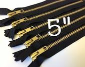 Gold teeth zippers, 5 inch brass YKK zippers with black tape, TEN pcs, YKK color 580