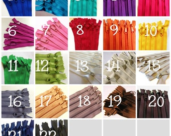9 inch Handbag zippers with long pull, Choose TEN - neutrals, turquoise, aqua, purple, green, sunflower, orange, hot pink, red