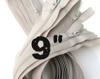 9 Inch natural beige YKK zippers, Ten pcs, YKK color 572, dress, skirt, pouch zippers, zippers in bulk