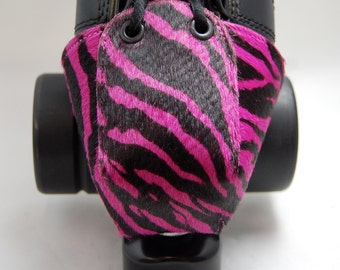 Leather Toe Guards with Pink Zebra Print