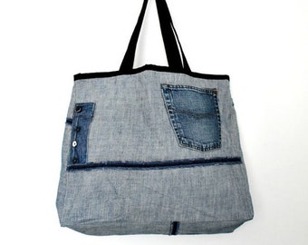 Large Tote Bag- No.9- Patchwork- Cotton-Jean