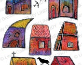 Colorful Houses Digital Download - Little Whimsical Houses