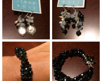 Dark Blue Crystals and Freshwater Pearls Earrings & Bracelet