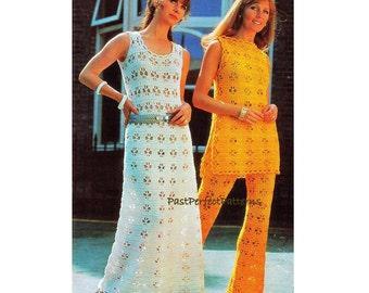 INSTANT DOWNLOAD PDF Vintage Crochet Pattern  Maxi Dress  Tabard Tunic Trousers Pants 1970s Retro