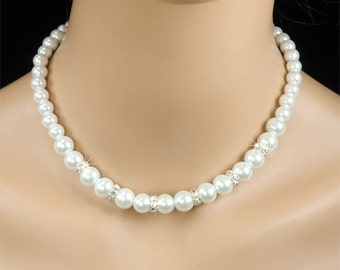 Pearl Bridal Necklace, Graduated White Pearl and Rhinestone Traditional Bridal Necklace, Bridesmaid Jewelry - Caroline (WN0002)