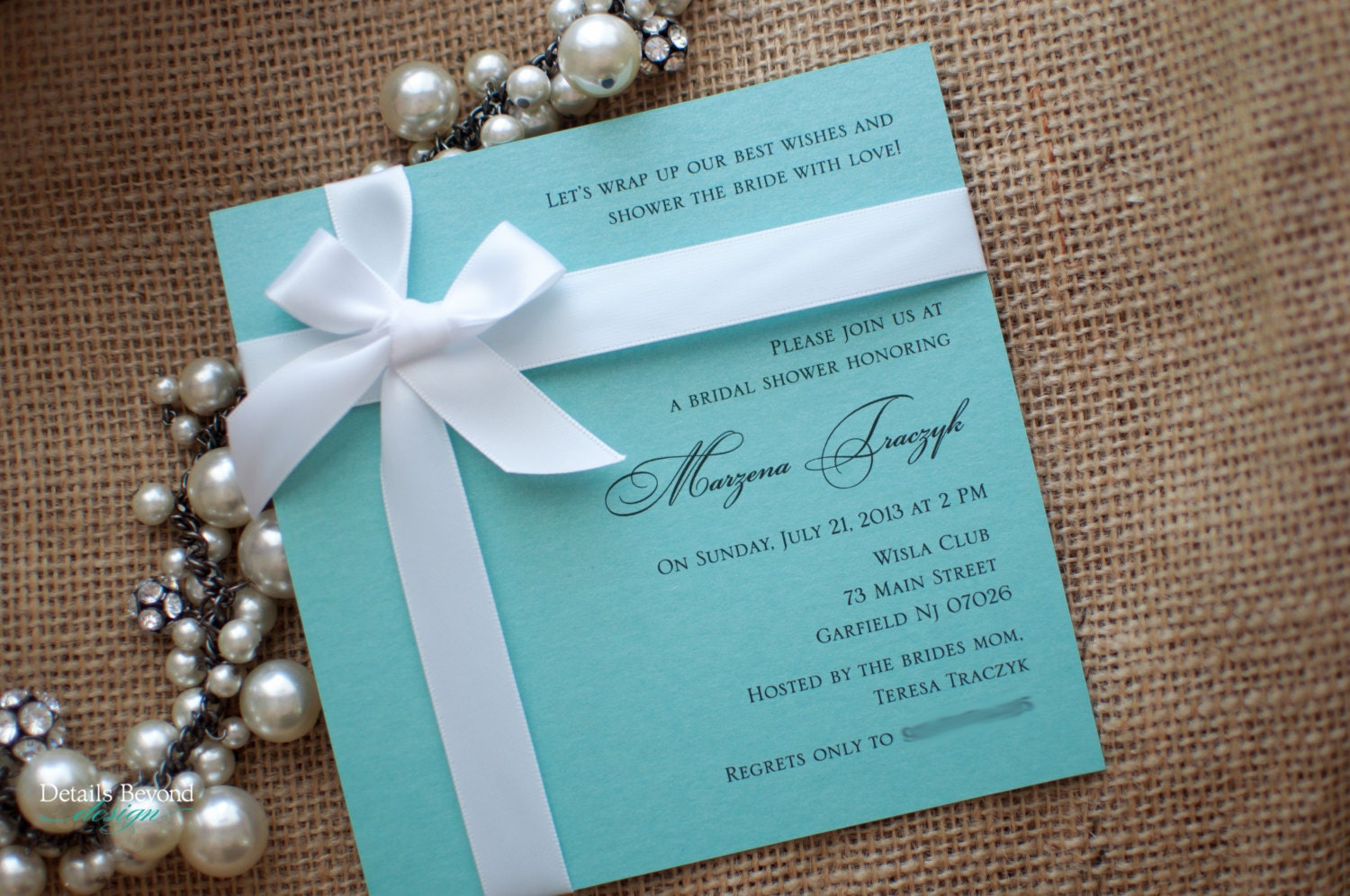 Tiffany Box Bridal Shower Invitation on Tiffany Blue Pearlescent