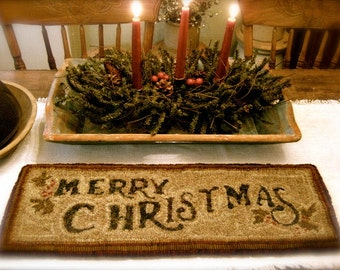 "Paper Rug Hooking Pattern""Merry Christmas"" Design by Cathy G~ Red House Wool Studio"