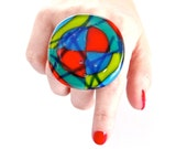 Cocktail Ring Fused Glass - big bold handmade statement ring - KALEIDOSCOPE -  2.2 inch