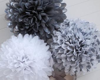 PLATINUM .. Tissue Paper Poms / Weddings / Anniversary / Birthday / Party Decoration / DIY