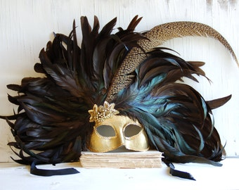 MASK Handmade FEATHER Masquerade Venetian Mask Headdress Mardi Grais Halloween Men's Mask Women's Mask Feather CROWN Gold