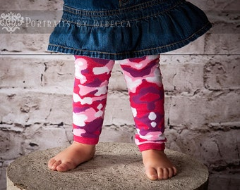 Pink and Purple Camouflage Baby Leg Warmers