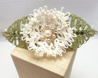 Tatted Lace Flower Barrette in custom color -Rosette Barrette MTO