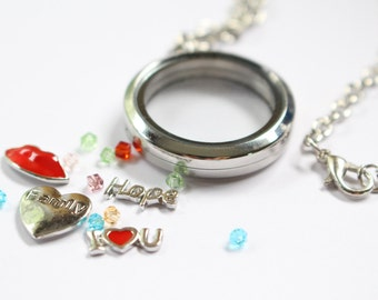 Stainless Steel Magnetic Floating Locket Necklace - Memory Locket - Double-sided Glass Locket with Free Charms