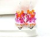Pink & Orange Earrings, Crystal Dangle Earrings, Lampwork Earrings, Glass Earrings, Beadwork Earrings, Hot Pink Orange Earrings  - Carousel