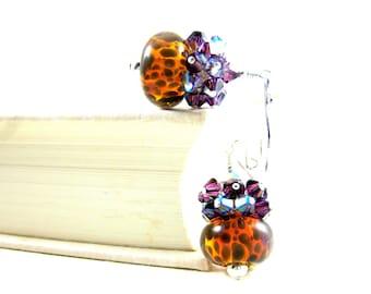 Animal Print Earrings, Purple Crystal Earrings, Purple & Brown Earrings, Rustic Earrings, Boro Lampwork Earrings, Cluster Earrings - Cheetah