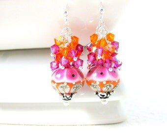 Pink & Orange Earrings, Crystal Dangle Earrings, Lampwork Earrings, Glass Earrings, Beadwork Earrings, Hot Pink Orange Earrings  - Carousel