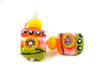 Coral Yellow Olive Earrings, Funky Glass Earrings, Statement Jewelry, Lampwork Earrings, Colorful Earrings Unique Jewelry, Fun Jewelry Taboo