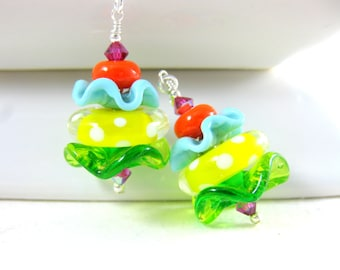 Colorful Ruffle Earrings, Funky Earrings Lampwork Earrings, Tropical Glass Earrings Blue Yellow Green Orange Whimsical Playful - Lemon Lime