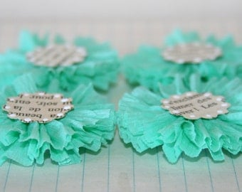 4 Light Sea Foam Green Crepe Paper Flowers