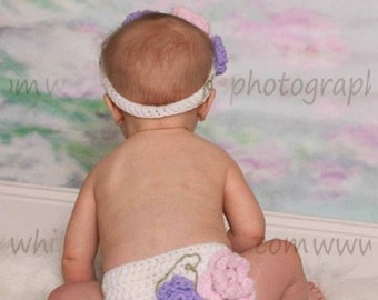 Flower Headband and Diaper Cover Set- Photography Prop