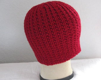 Merino Wool Beanie in True Red. Hand Knit Ribbed Hat. Fall and Winter Accessories.