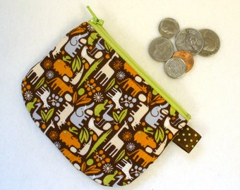 CLEARANCE SALE Mini Coin Purse Teeny Tiny Zoo Pool Animals Fabric Zipper Change Purse Hippo Elephant Giraffe Turtle Brown Orange Lime Green