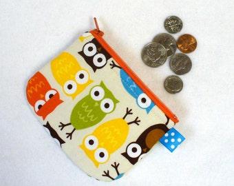 Boys Girls Cute Mini Coin Purse Owls Mini Change Purse Little Zipper Coin Pouch Urban Zoologie Anne Kelle Handmade MTO