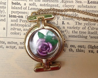 purple rose flower pendant - 478