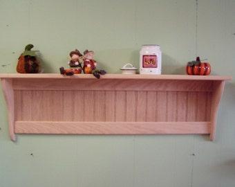 "Wood Wall Shelf Country Rack 42"" Oak Unfinished Wall Hanging Shelf"