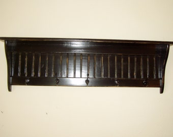 """42"""" Black Country Coat Rack With Black Hooks Primtive Country Rustic Black Hooks"""