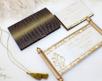 Gorgeous Ganesh Indian Wedding Invitation Scroll 2.0