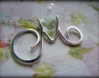 UPPER Case Initial Pendant Necklace -Script Monogram Sterling Silver - Gift Bridesmaids Best Friend