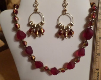 Red Sea Glass and Dichromic Beaded Necklace and Earring Set  FREE SHIPPING