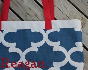 Navy and Cream Lattice Print Teacher Monogrammed Book Bag Tote Bag