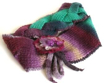 Knit infinity scarf, Knitted braid scarf, Chunky scarf, Knit cowl, Knit neckwarmer, Felt flower brooch, Wool scarf, Winter accessory,