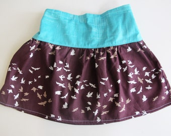 Girl's Skirt - Teal and Deep Plum / Purple  with Bird design -   Skirt for Baby, Toddler and Youth Child - Quality Handmade Clothing