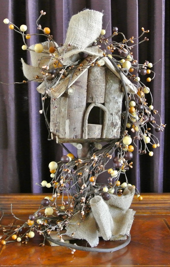 Rustic Country Chic 18 Inch Standing Birdhouse with Berry Garland and Burlap Bows