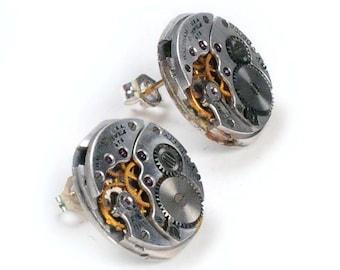 Antique 1940's Waltham Watch Movement Sterling Silver Earpost Steampunk Earrings