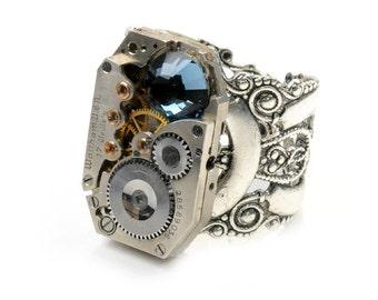 Petite Sapphire - 1934 Waltham Watch Steampunk Ring