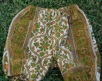 Hippie Kids Shorts Bloomer pants -  Gold Sunflower - size 1 -Boys or Girls-read measurements