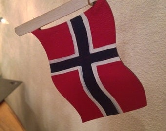 Norwegian flag ornament with national anthem