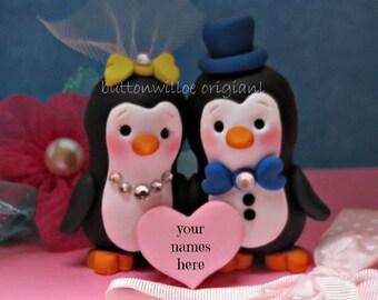 Personalized Penguin Wedding Cake Topper Happy Handmade Love Birds