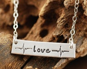 Heart Beat Love Necklace,  Sterling Silver Rectangular Bar, Hand Stamped, Life Line Jewelry