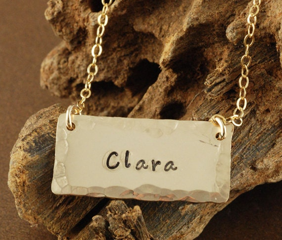 Gold Bar Name Necklace, Hand Stamped Gold Bar Necklace, Personalized Gold Bar Necklace, Inspirational Jewelry