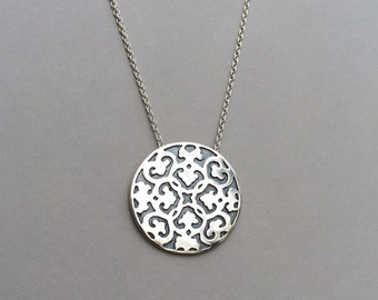 Sterling Silver Hand Carved Oxidized Circle Pendant Necklace