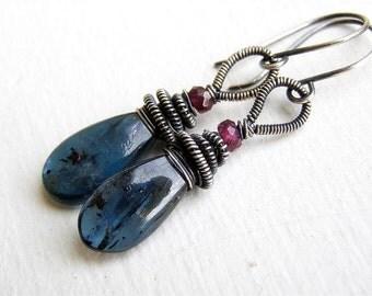 Kyanite Earrings , Rhodolite Garnet , Oxidized Sterling  Silver Earings ,  Wire Wrapped Earrings , Drop Earrings , Blue Earrings