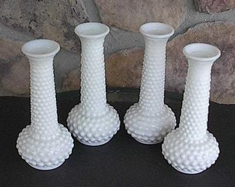 Vintage Milkglass Hobnail Bud Vases
